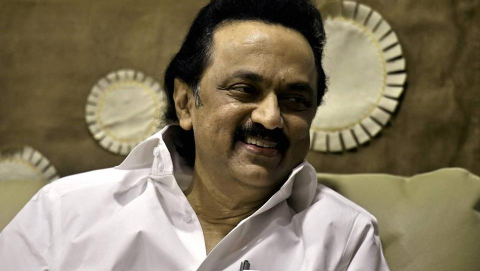 DMK working president MK Stalin at his residence in Chennai.  Tamil Nadu's ruling AIADMK has alleged that the DMK aided chief minister OPanneerselvam in his revolt against the party leadership.
