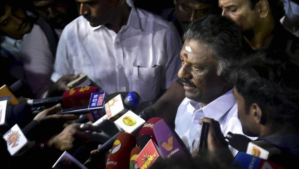 O Panneerselvam addressing to media after end of a meditation in front of late J Jayalalithaa's burial site at the Marina Beach in Chennai on Tuesday.