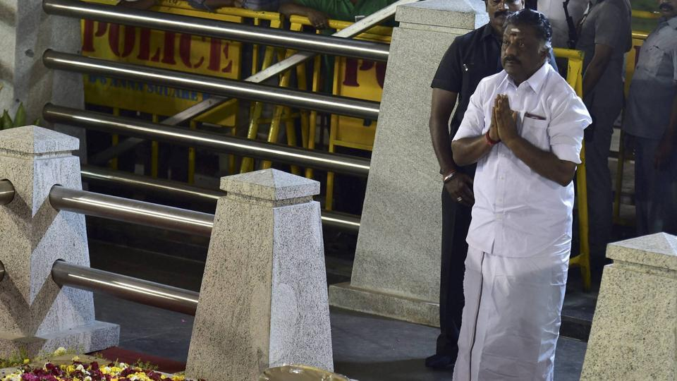 Tamil Nadu chief minister O Panneerselvam after end of a meditation in front of late J Jayalalithaa's burial site at the Marina Beach in Chennai on Tuesday.