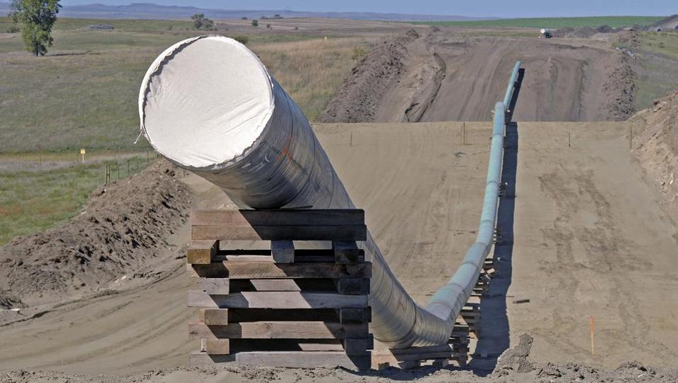A section of the Dakota Access Pipeline under construction near the town of St. Anthony in Morton County.