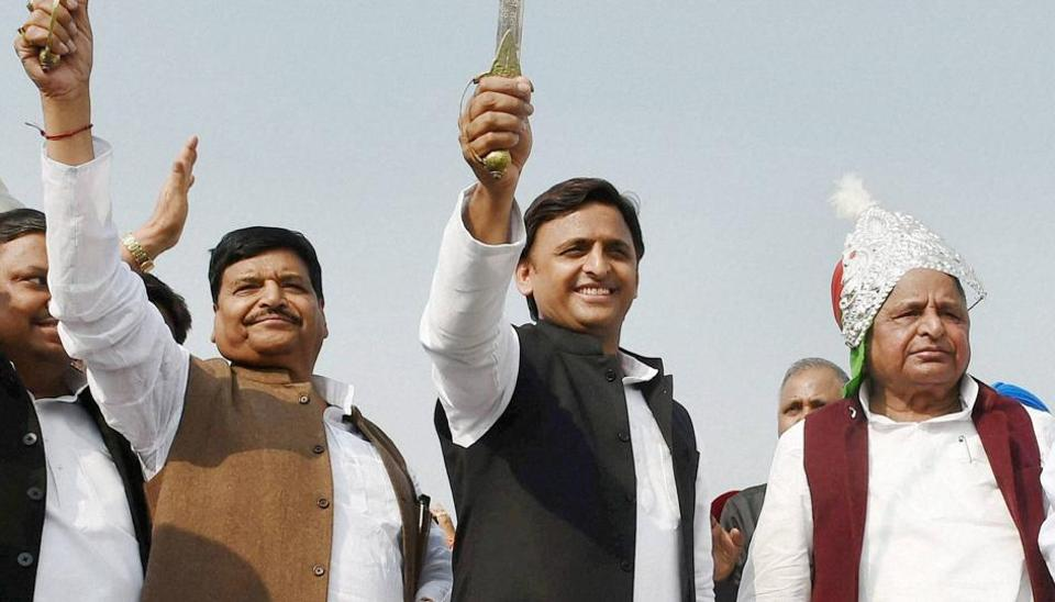 Samajwadi Party patriarch Mulayam Singh Yadav with Uttar Pradesh chief minister Akhilesh Yadav and party leader Shivpal Singh Yadav at a function in Unnao.