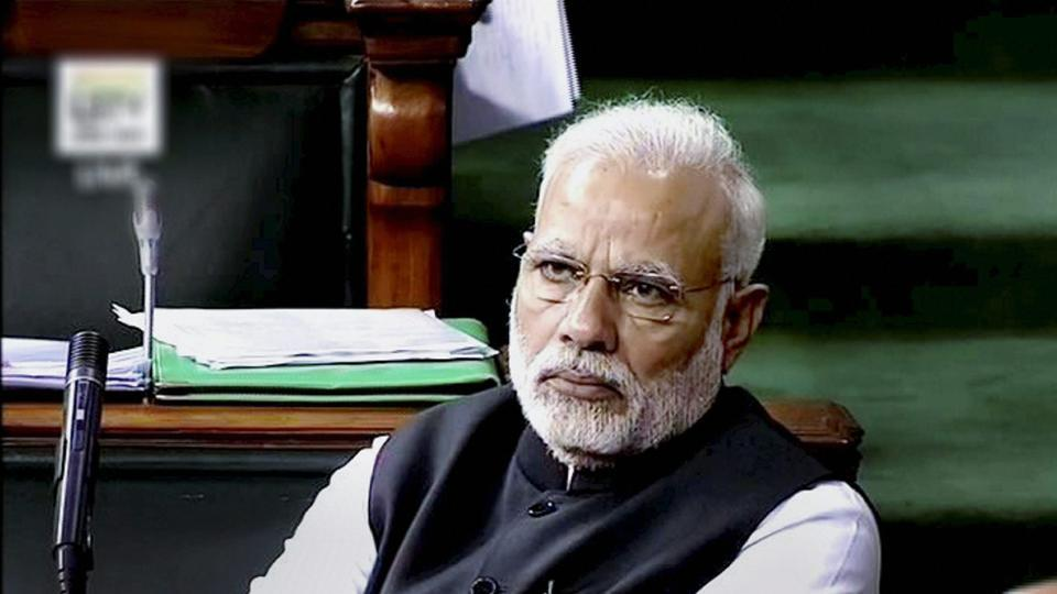 Prime Minister Narendra Modi in the Lok Sabha in New Delhi on Wednesday.