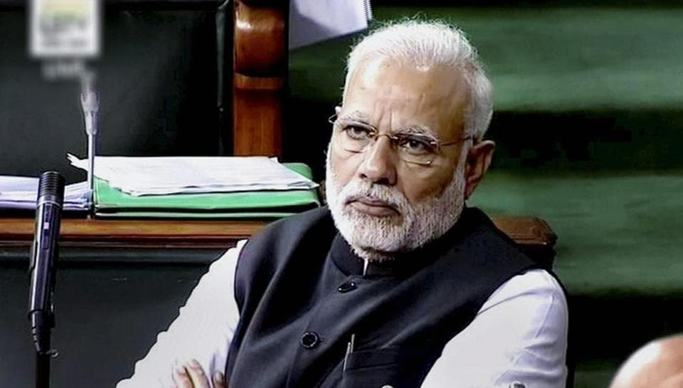 Prime Minister Narendra Modi in the Lok Sabha in New Delhi on Wednesday.