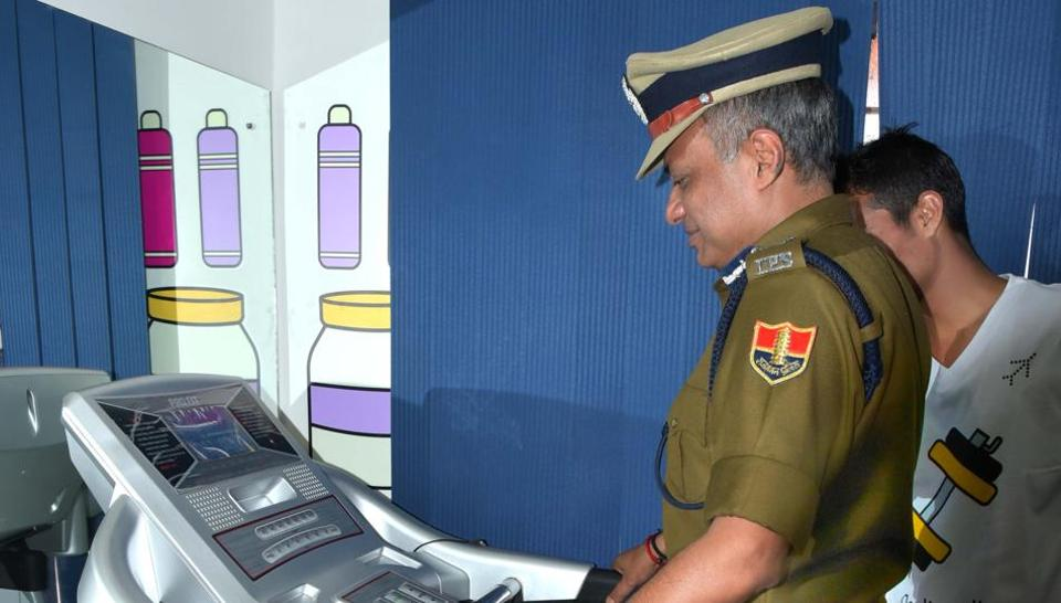Jaipur police commissioner Sanjay Agarwal inaugurates a gym at the Sanganer police station on Wednesday.
