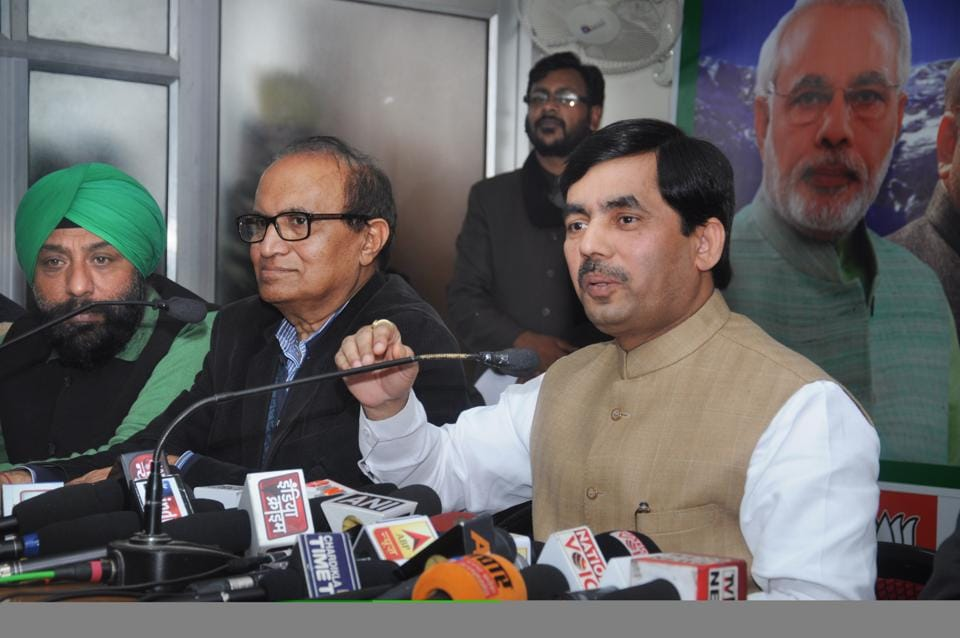 BJP national spokesperson Shahnawaj Hussain addresses media in Dehradun on Wednesday.