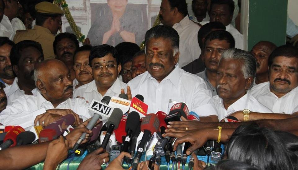 O Panneerselvam speaks to the media at his residence in Chennai on Wednesday.