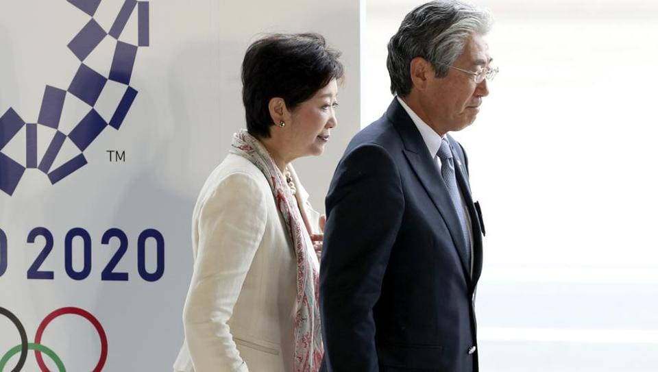 Japanese Olympic Committee president, Tsunekazu Takeda (right) with Tokyo governor, Yuriko Koike at the Olympic flag arrival ceremony in August. 23, 2016.  Takeda was questioned over payments made during the successful bid for the 2020 Olympics.