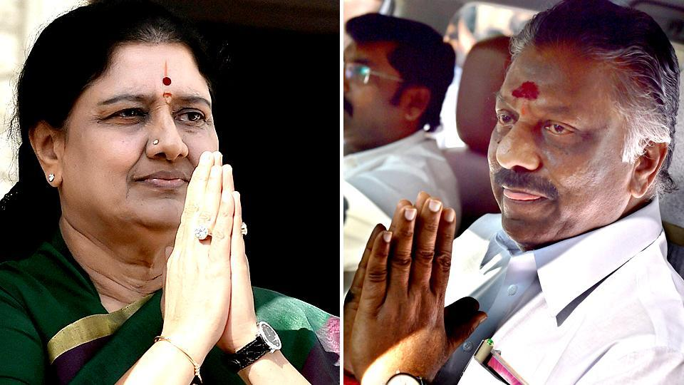 A combination photo of Sasikala(L) and O Panneerselvam.
