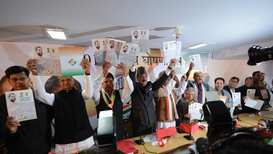 Congress leaders releasing the party manifesto in Lucknow on Wednesday