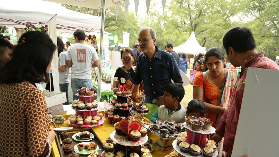 Visitors enjoying delicious cupcakes at last year's Palate fest in Delhi.