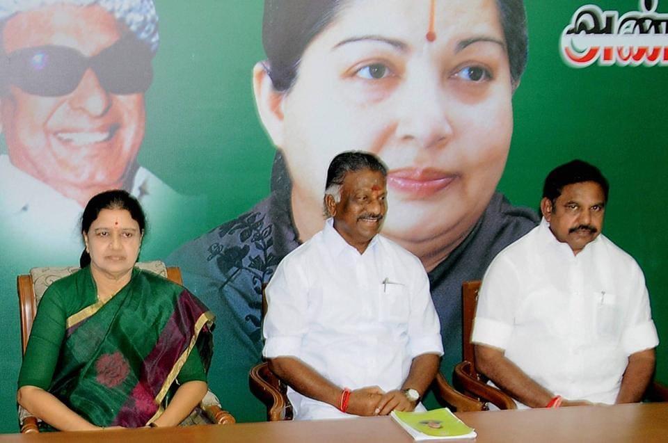 Tamil Nadu chief minister O Panneerselvam and AIADMK general secretary VK Sasikala at a party meeting, Chennai, February 5