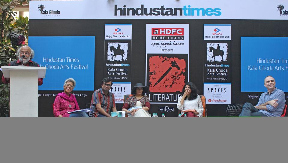 Hope street poets address the audience at DSL Garden during the HTKGAF, on Wednesday.