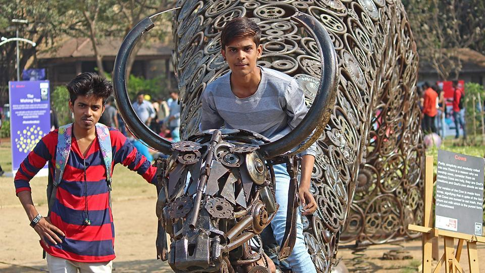You don't just take, but pose with the bull by the horns. (Satyabrata Tripathy/Hindustan Times)