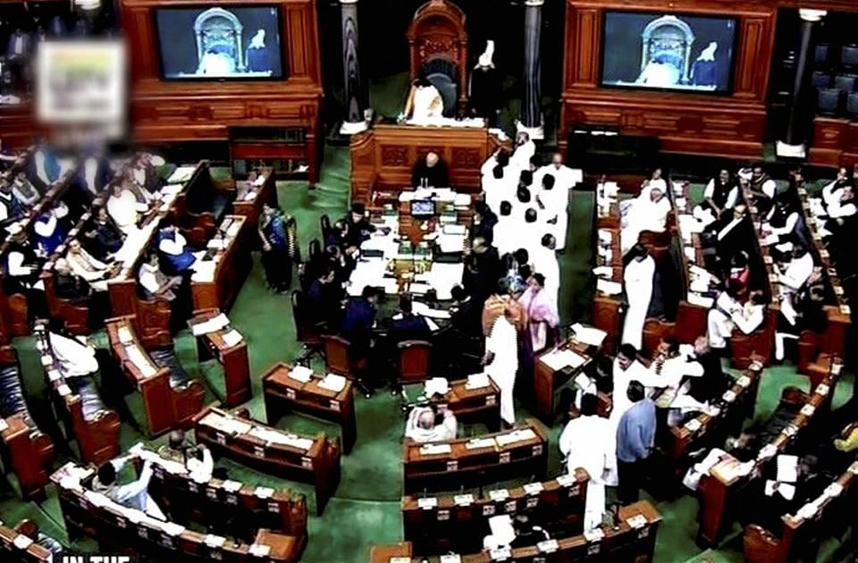 A view of the Lok Sabha in session.