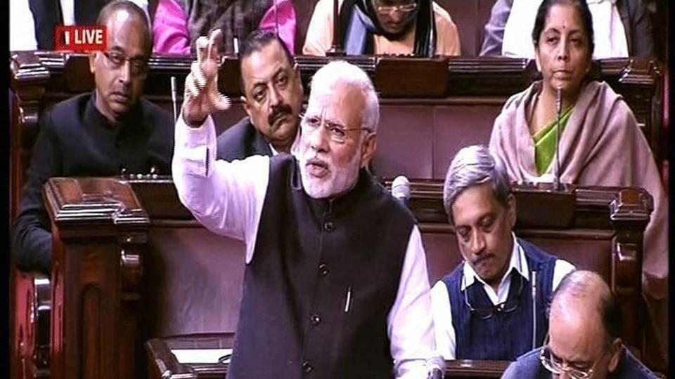 Prime Minister Narendra Modi speaks in the Rajya Sabha in New Delhi.