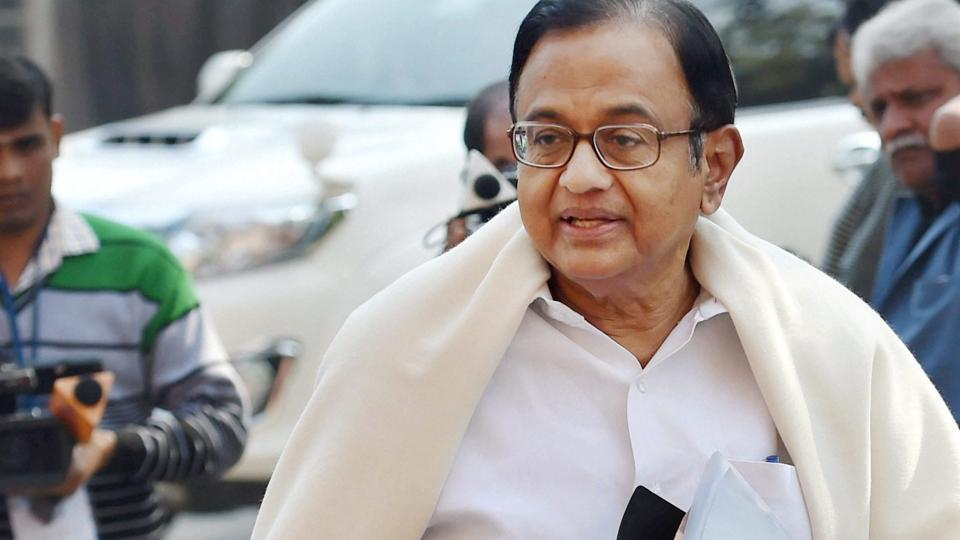 Congress leader P Chidambaram at parliament during the budget session in New Delhi on Thursday.