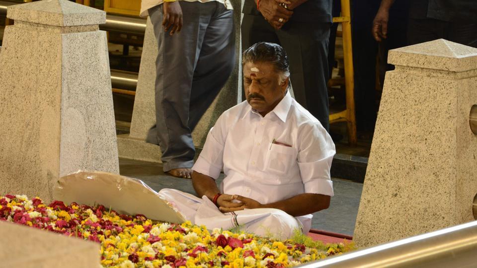 O Panneerselvam at Jayalalitaa's Memorial in Chennai.