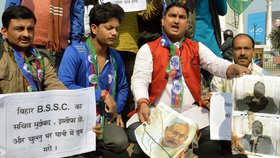 Lok Janshakti Party workers protesting against the leak of BSSC examination question papers, in Patna.