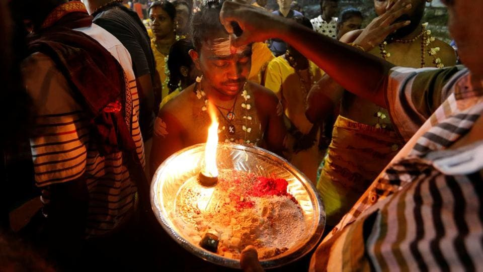The annual festival has become a major cultural highlight and takes place on a grand scale at the Sri Subramaniar Swamy Devasthanam Temple at Batu Caves just outside of Kuala Lumpur, Malayasia. It commemorates the day when the goddess Parvathi gave her son Lord Murugan a powerful lance to fight evil demons. (Lai Seng Sin b/ REUTERS)
