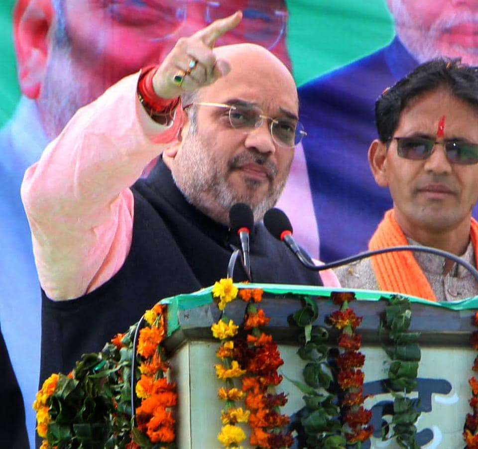 BJP  national president Amit Shah addresses a rally in Tehri district on Thursday.