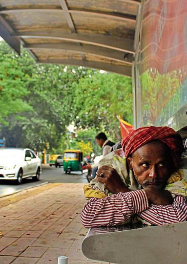 The bus stand in CR Park in New Delhi is used for all purposes other than waiting for buses.