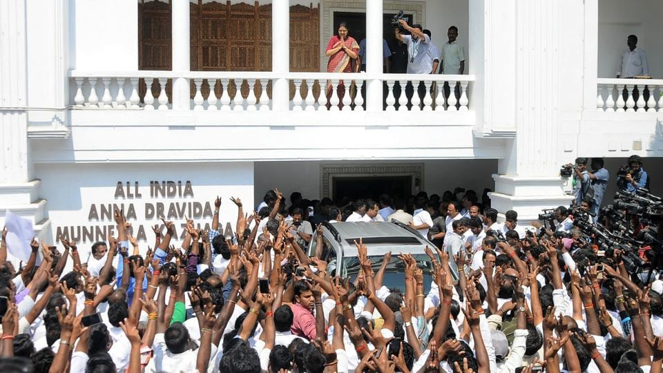 AIADMK leader V K Sasikala gestures to her supporters in Chennai on February 8, 2017.