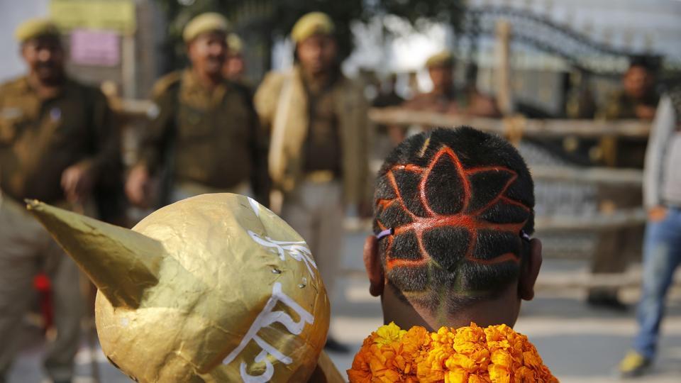 A BJP supporter in Allahabad, Uttar Pradesh.
