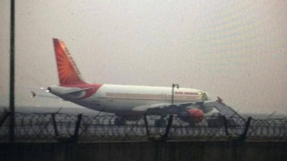 An Air India flight AI-215 in IGIairport in New Delhi.