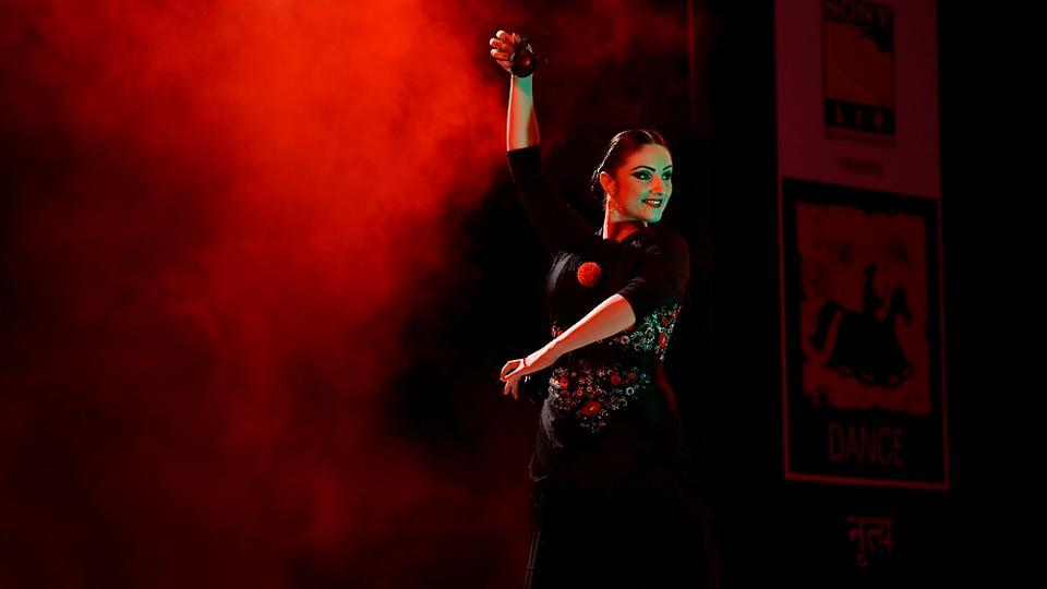 Dancer Paris Laxmi during a Flamenco performance at  Cross Maidan. (Anshuman Poyrekar/HT PHOTO)