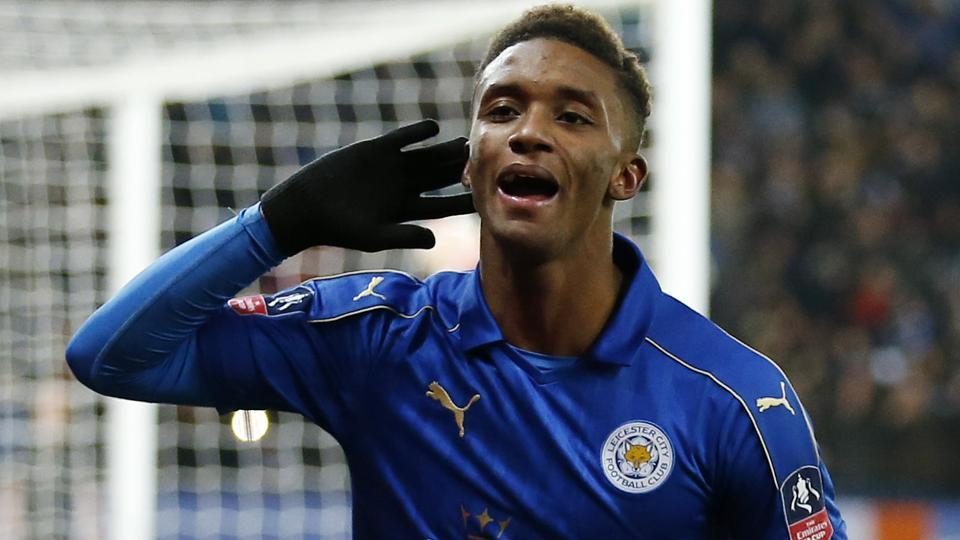 Leicester City FC's Demarai Gray celebrates scoring their third goal against Derby County FC in their FA Cup encounter.