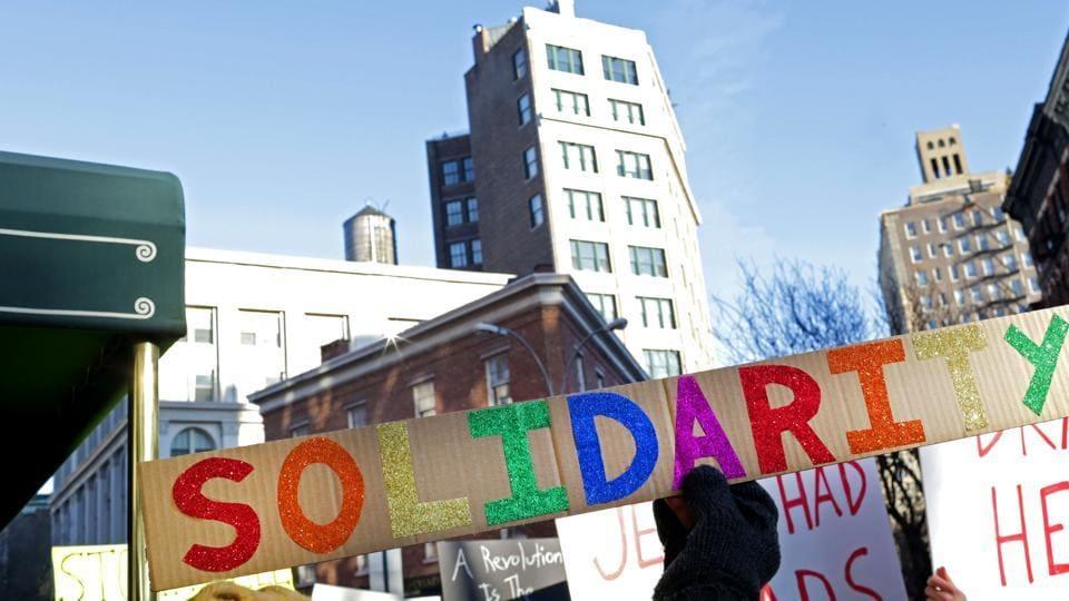LGBT solidarity rally in US.