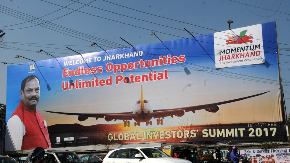 State government put hoardings  for the success of Global Investors meet