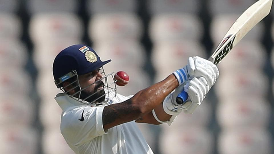 India's Murali Vijay plays a shot during the first day of the one-off Test match against Bangladesh in Hyderabad, Thursday. Catch live cricket score of India vs Bangladesh here.