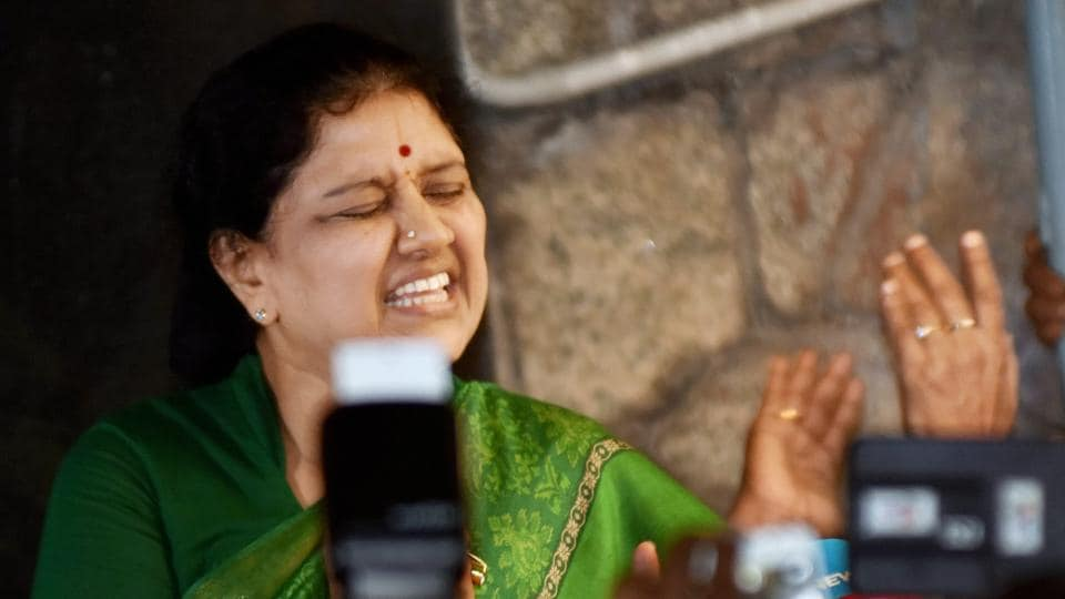 AIADMK general secretary V K Sasikala speaks to media at her Poes Garden residence in Chennai on February 8.