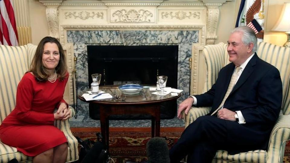 US Secretary of State Rex Tillerson meets with Canadian Foreign Minister Chrystia Freeland at the State Department in Washington February 8.