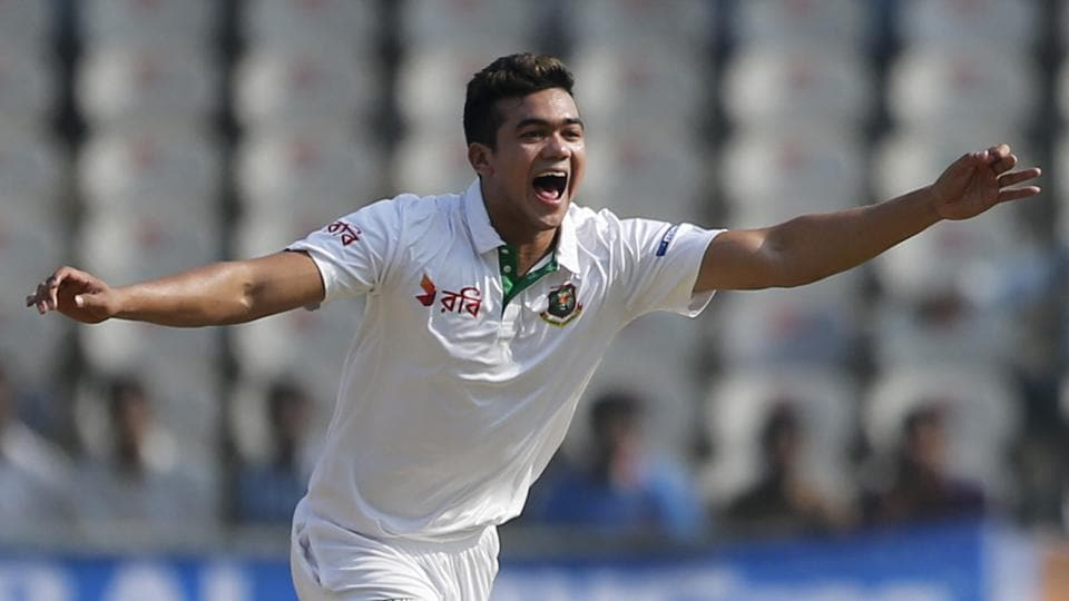 Bangladesh's Taskin Ahmed celebrates the dismissal of India's KLRahul during the first day of the one-off Test in Hyderabad on Thursday.