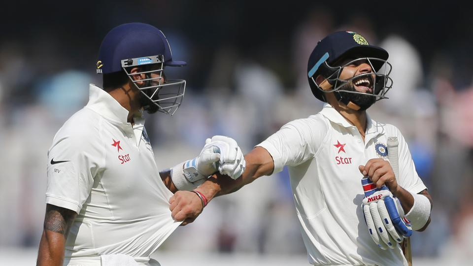 Virat Kohli slammed his 16th Test century while Murali Vijay notched up his ninth Test ton to help India end day one on 356/3 against Bangladesh in Hyderabad.