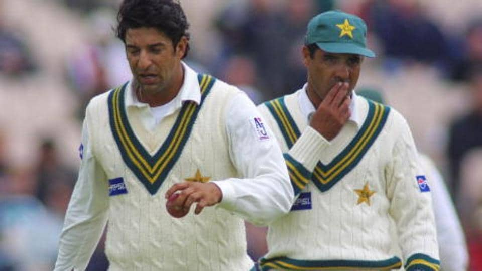 Wasim Akram and Waqar Younis were at the crease with Anil Kumble bowling to scalp his tenth wicket during the Test between India cricket team and Pakistan cricket team at Kotla in 1999.
