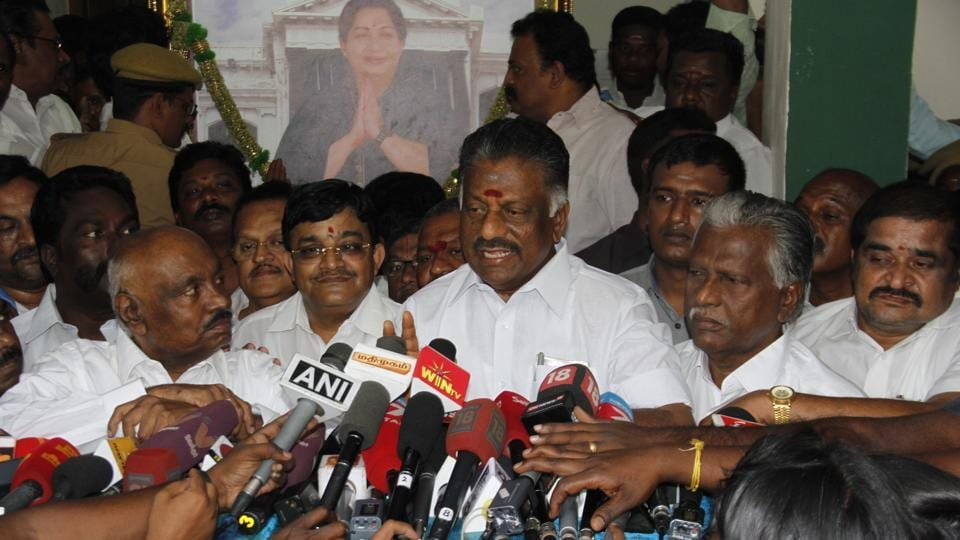 O Panneerselvam addresses media at his residence in Chennai.