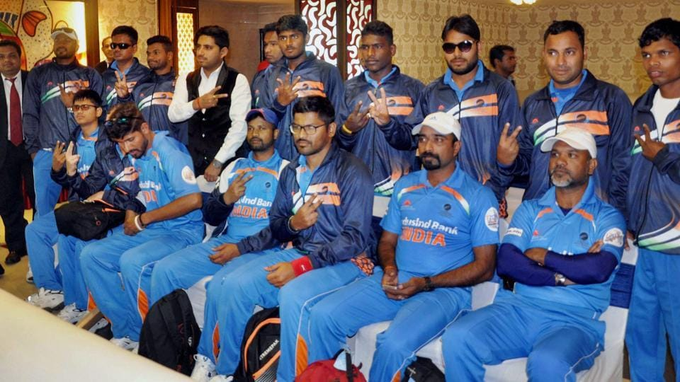 The India blind cricket team will play the winner of Saturday's second semi-final between Pakistan and England in Bengaluru on Sunday.