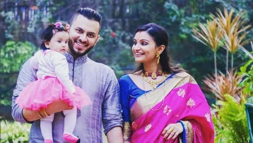 "TV actress Dimpy ganguly shared this photo of her daughter and husband on Instagram and wrote, ""All we have is each other :)"""