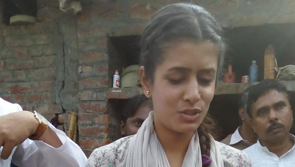 Tanushri  Mani Tripathi in Barwa Kalan village of Uttar Pradesh. She and her sister are campaigning for their brother Aman Mani Tripathi who is in jail for allegedly murdering his wife.