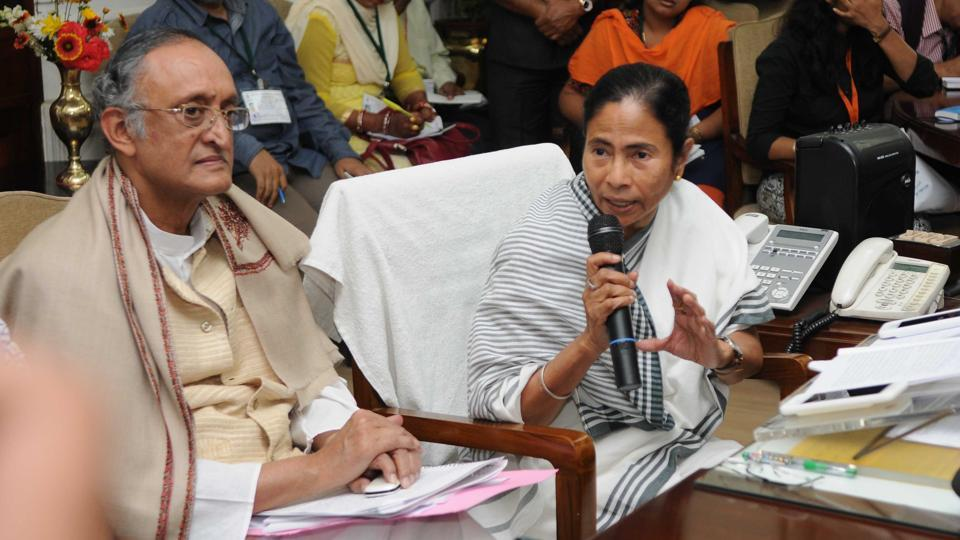 Chief Minister Mamata Banerjee and finance minister Amit Mitra interacting with the media on Friday after the budget.