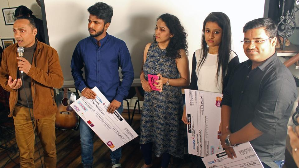 Actor Rahul Bose (left) with some winners of the Gaana Rewrite finals at Boston Butt in Mumbai on Thursday.