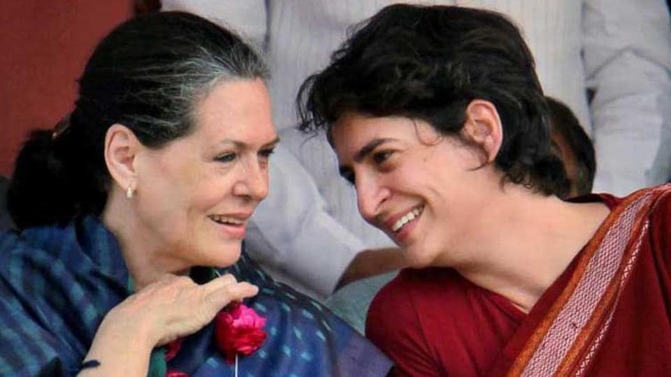 Congress President Sonia Gandhi with daughter Priyanka Gandhi Vadra.