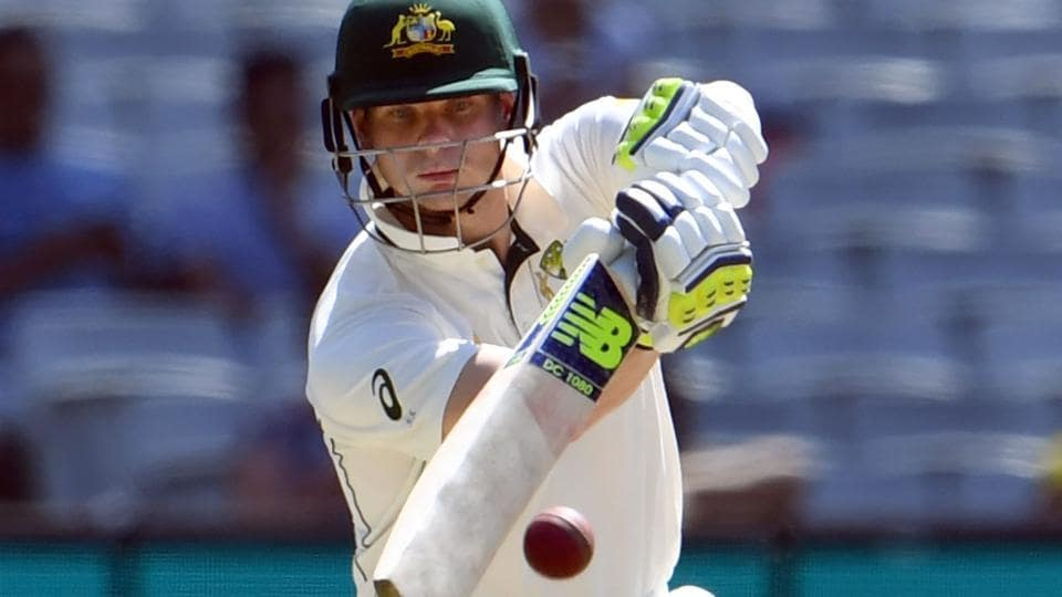 Australia's Steve Smith drives a delivery from the Pakistan bowling on the final day of the second cricket Test match in Melbourne.