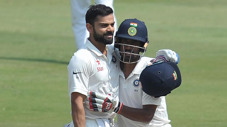 Wriddhiman Saha (right) congratulates Indian cricket team captain Virat Kohli after scoring double century on Day 2 of the India vs Bangladesh Test at the Rajiv Gandhi International Cricket Stadium in Hyderabad on Friday. Get cricket score here.