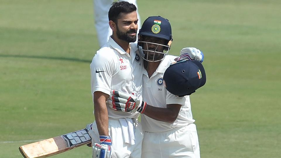 Virat Kohli and Wriddhiman Saha on the second day of India vs Bangladesh Test in Hyderabad on Friday.