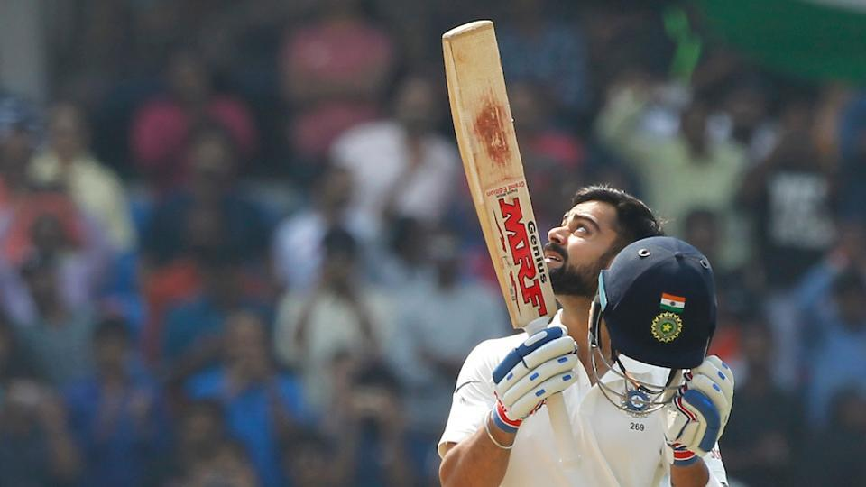 Virat Kohli celebrates after completing his double century against Bangladesh in Hyderabad.