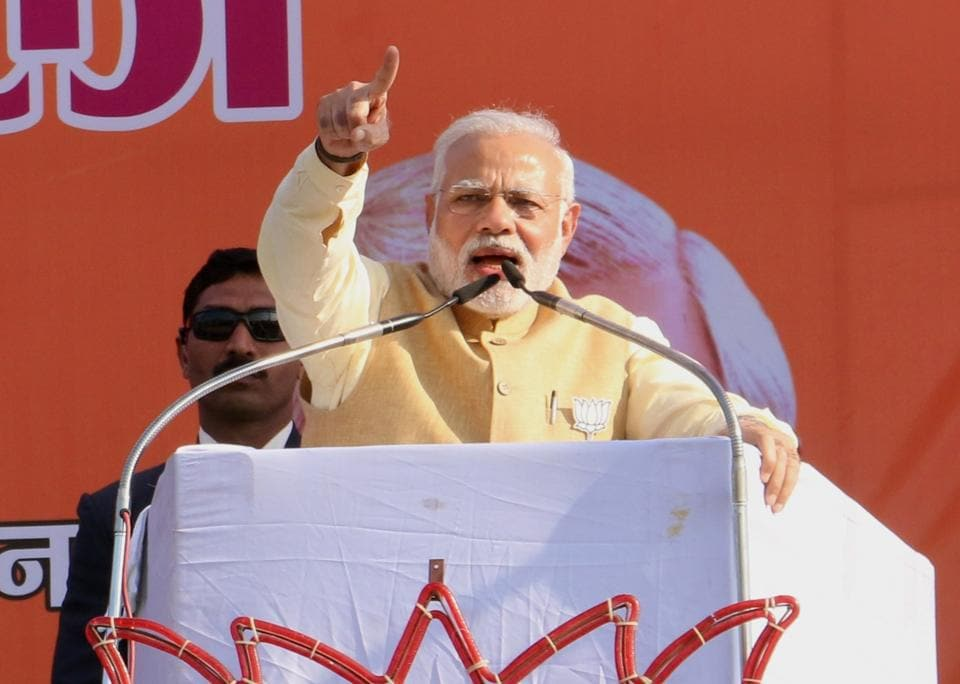 Prime Minister Narendra Modi addresses a rally in Haridwar on Friday.
